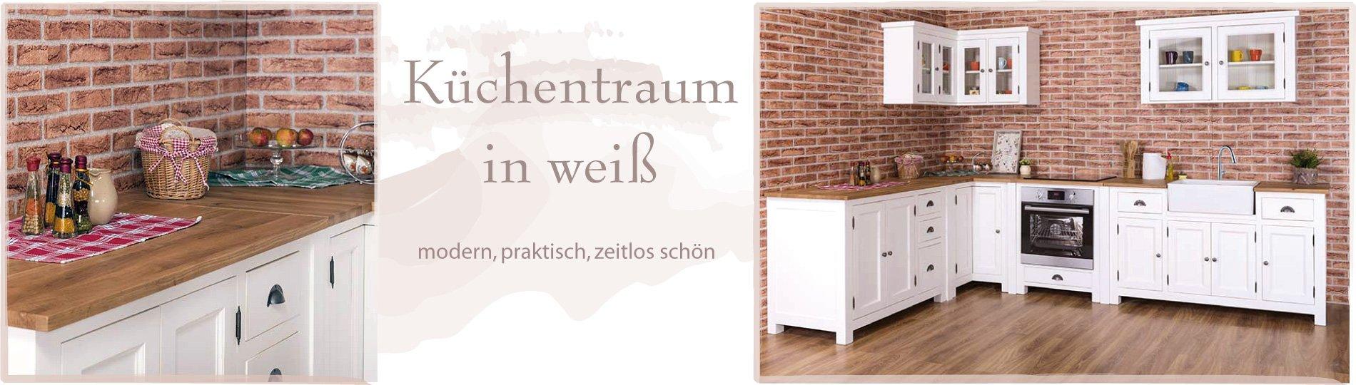 k chentraum in wei g nstige preise. Black Bedroom Furniture Sets. Home Design Ideas